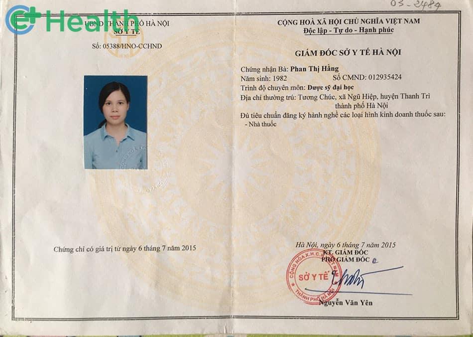 Chứng chỉ hành nghề dược được Sở Y tế Hà Nội cấp