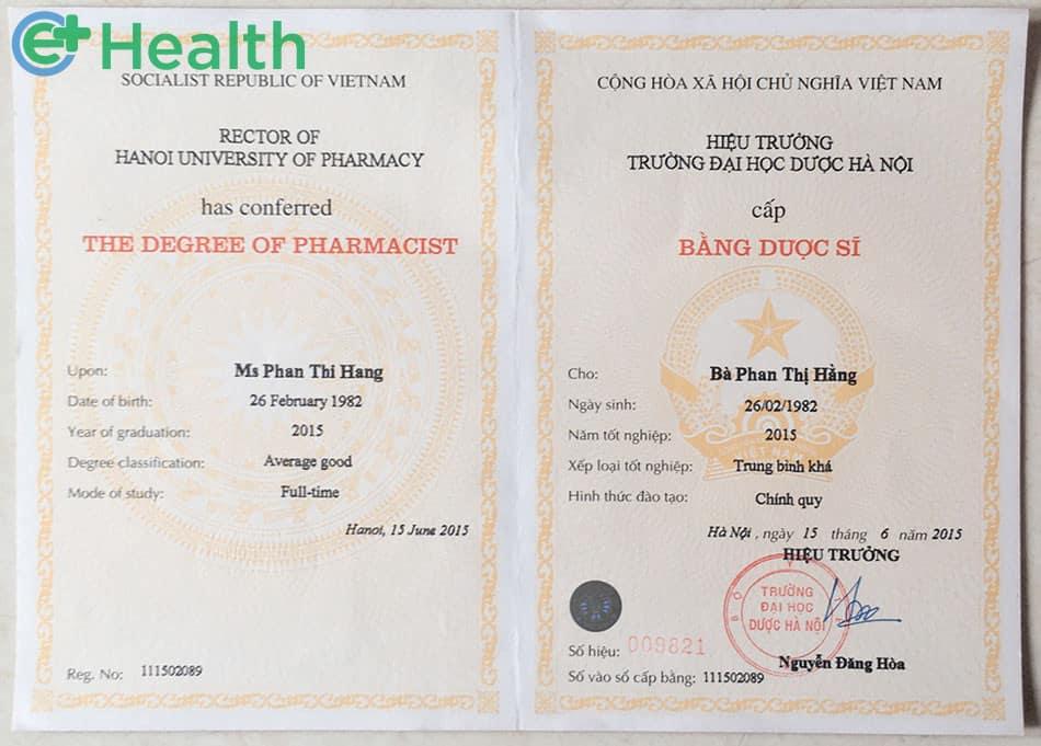 Bằng tốt nghiệp dược sĩ trường Đại học Dược Hà Nội năm 2015